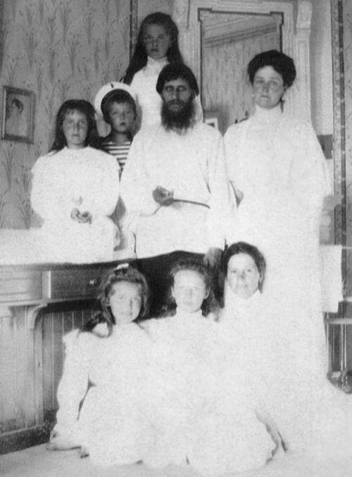 Grigori Rasputin with Alexandra Feodorovna and her children, the Russian royal family, 1908