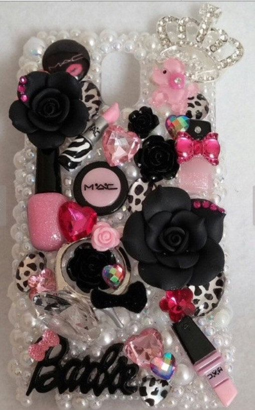 BLING Leopard Make Up White & Pink Diva Barbie Samsung iPhone Case Note 2 3 4 4s 5 5s 5c 6 Plus