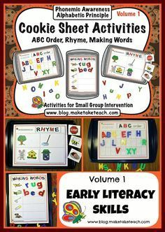 3 early literacy cookie sheet activities! ABC order, Rhyme and Building CVC words. Great for centers or small group instruction.