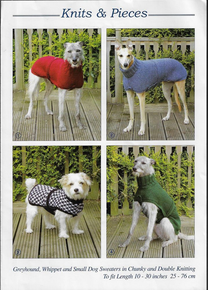Dog Coats Knits Pieces Knitting Pattern Greyhound Whippet Small