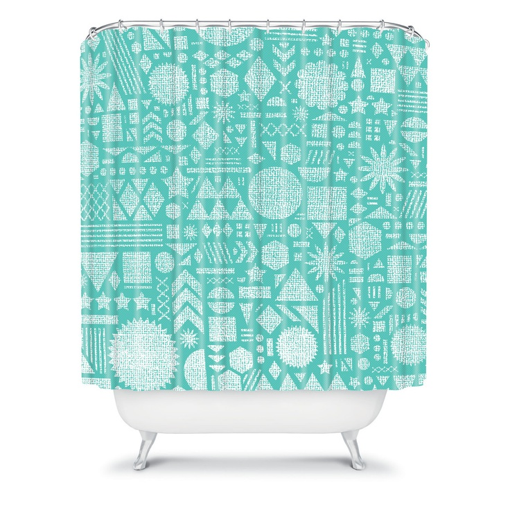 DENY Designs Home Accessories | Nick Nelson Modern Elements In Turquoise Shower Curtain