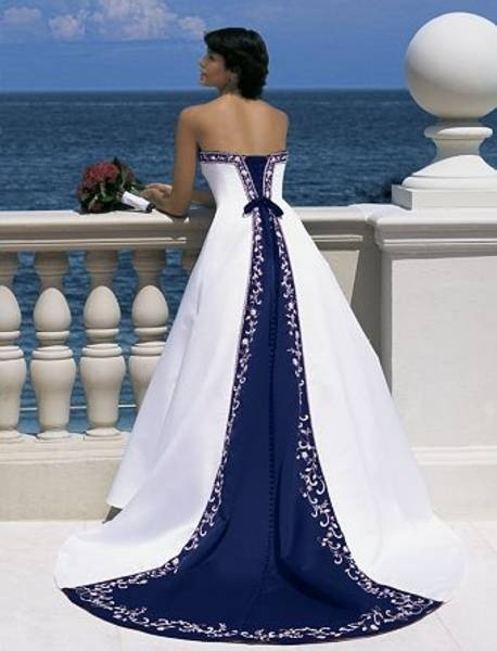 Wedding dress with blue trim would probably change the for White wedding dress with blue trim