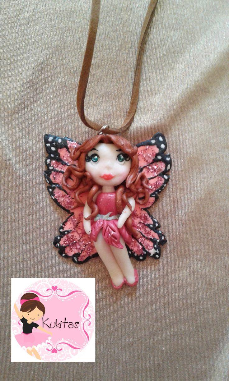 mariposa, kawaii chibi ooak doll, jewelry,  polymer clay charm necklace, kawaii fairy doll, necklace, collar, colgante, mariposa, buterfly de…
