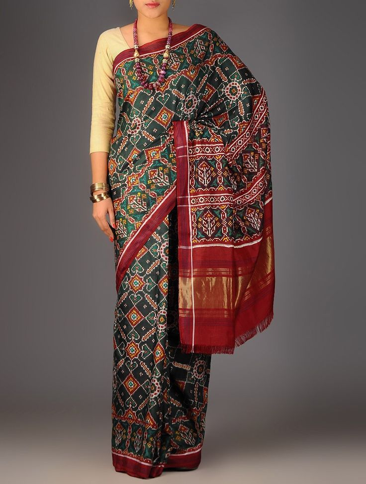 Buy Green Red Double Ikat Patan Patola Silk Saree Accessories Scarves & Stoles Resplendent Legacy Sarees Dupattas in Single Online at Jaypore.com
