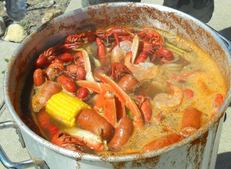 seafood boil (Mason's favorite) old bay seasoning, sausage, snow crab legs, crawfish, shrimp ...