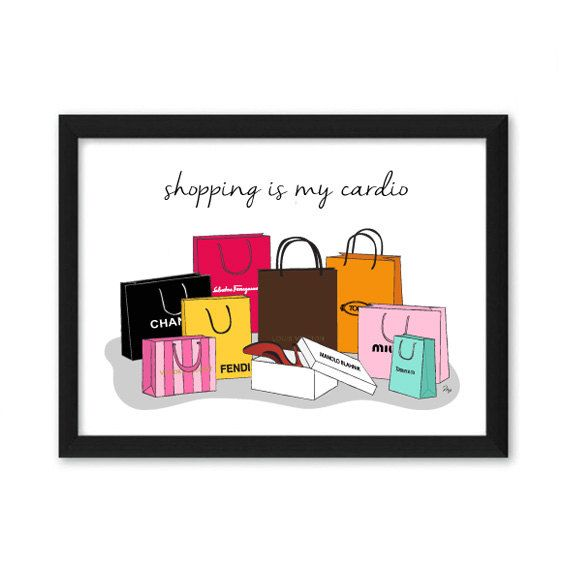 Designer Fashion Brands Shopping Bags Illustration Art Print by MPillustration on Etsy