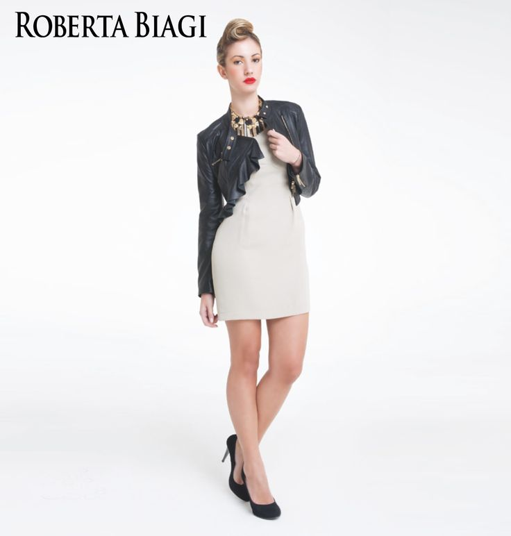 Spring Summer collection Roberta Biagi Outfit Lookbook, dress and leather jacket