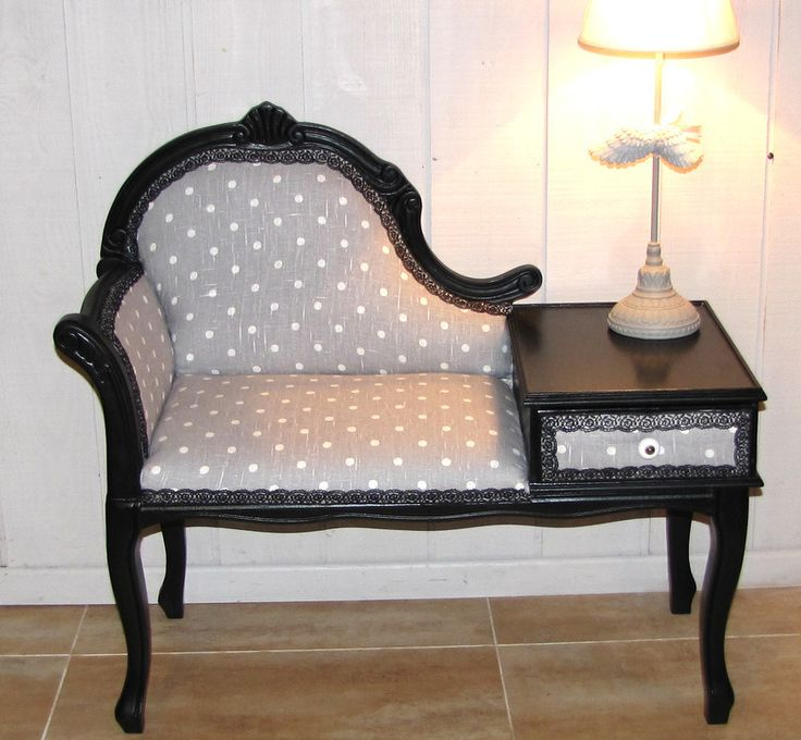 fauteuil t l phone relook tissus pois ruban dentelle. Black Bedroom Furniture Sets. Home Design Ideas