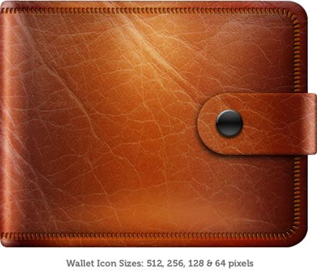 Leather Wallet Icon PSD