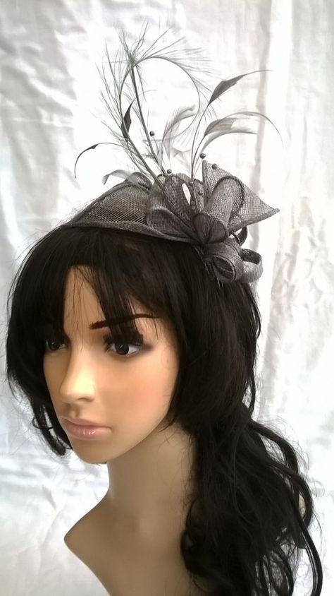 Pewter grey Fascinator ..Stunning Sinamay and Feather Fascinator ...fascinator only