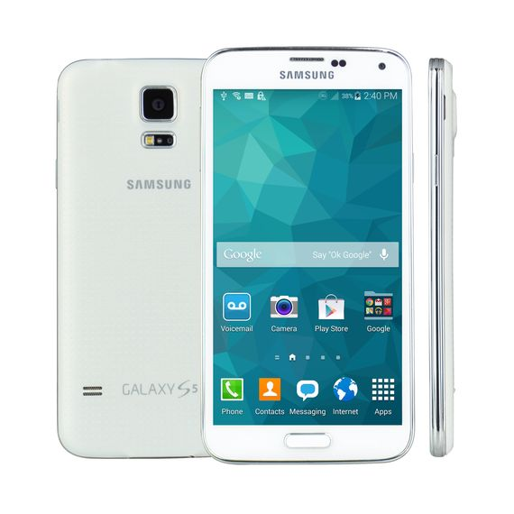 100% Free Mobile Phone Service w/ Samsung Galaxy S5, White - FreedomPop