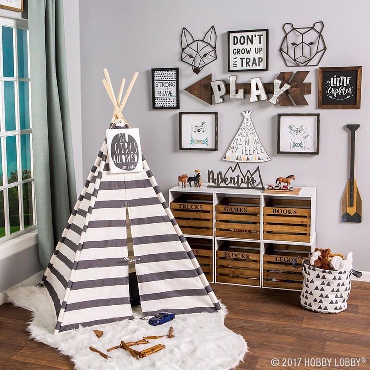 "474 Likes, 8 Comments - Hobby Lobby (@hobbylobby) on Instagram: ""Give your little explorer the perfect place to play with a woodland-themed #playroom! Link in…"""