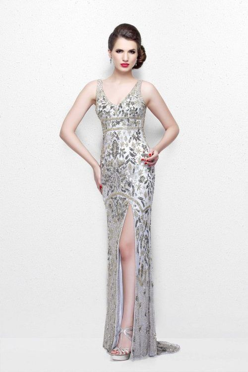 Primavera Couture - Glittering Sleeveless V-Neck Long Dress with Slit 1833 in Gray