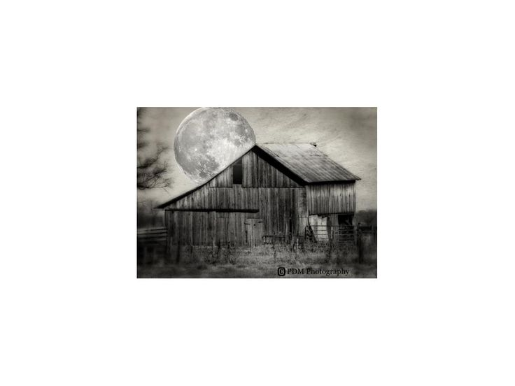 Barn and Supermoon, Black and White Photograph, Surrealism, Farm Building