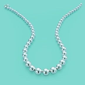 Tiffany Beads graduated necklace in sterling silver.