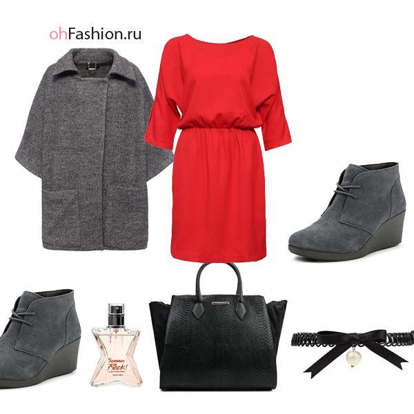 красное платье серое пальто серые ботильоны замшевые черная сумка чокер | ohFashion.ru