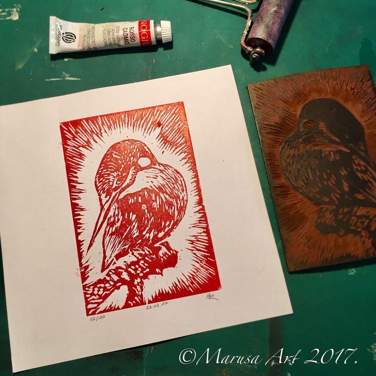 Kingfisher linoprint