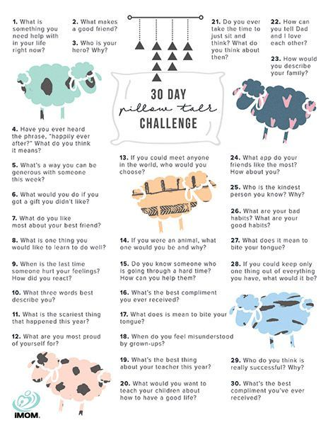 pillow talk challenge, chat with your kids on bedtime - this would be great journaling prompts for parent/child journals too!