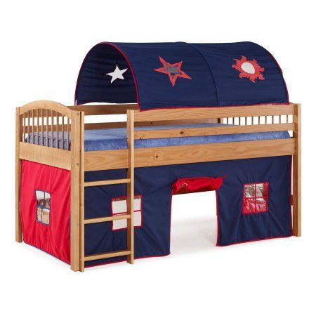 Addison Cinnamon Finish Junior Loft Bed, Blue Tent and Playhouse with Red Trim, Brown