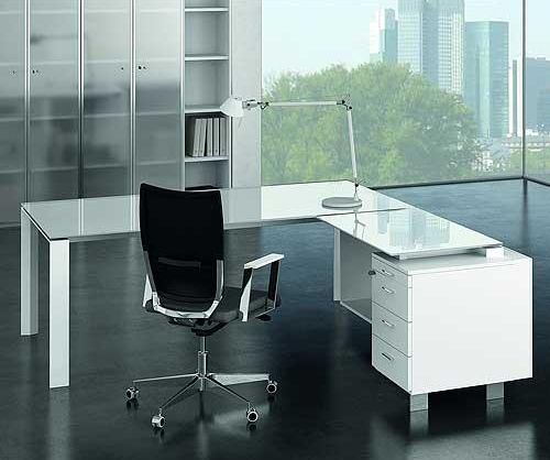 Glass Executive Office Desk Pure white glass