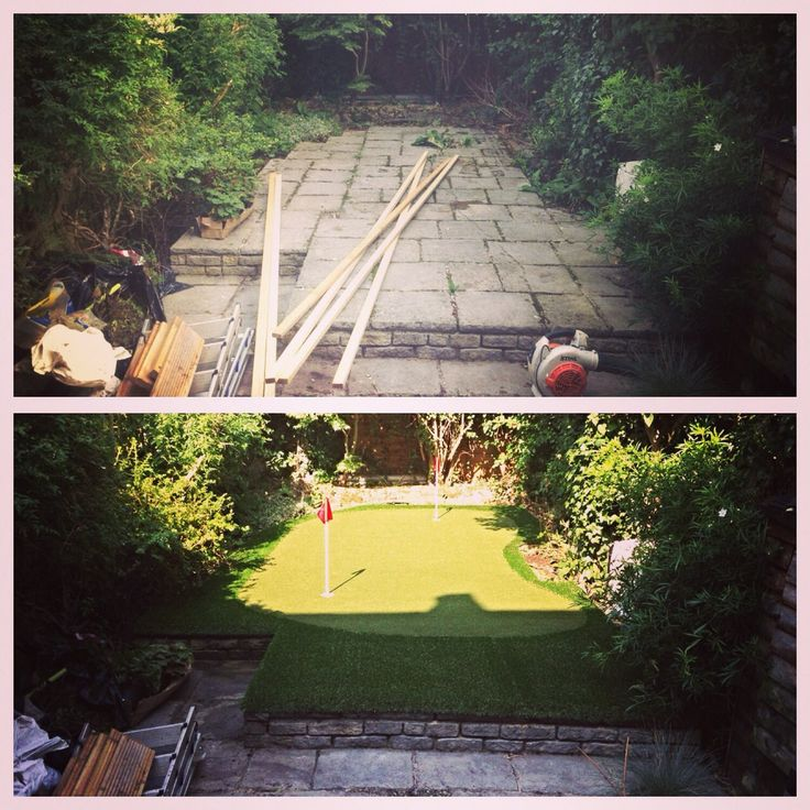 Before and after putting green