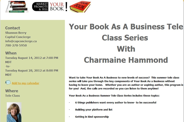 Your Book As A Business Tele Class Series With Charmaine Hammond