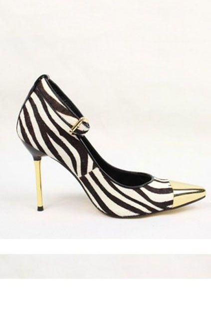 Exquisite Cap-toe Zebra High-heeled PumpsZebras Pump, Zebras High Heels, Zebras Highheels, Cap Toes, Exquisite Captoe, Highheels Pump, Cap To Zebras, Captoe Zebras, High Heels Pump