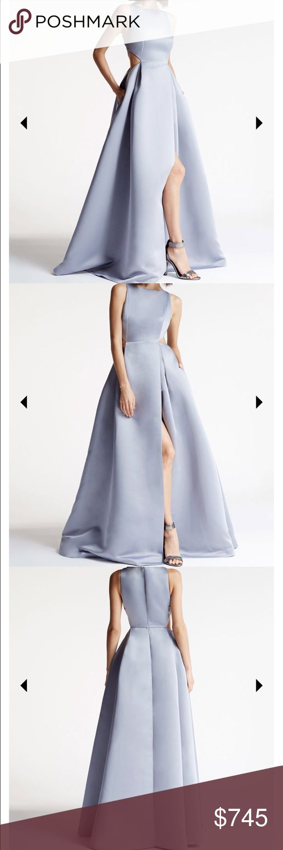 SATIN FAILLE CUTOUT GOWN dress Halston Heritage Halston Heritage long light blue-gray dress , very chic and luxury material , clean , one time use Halston Heritage Dresses Wedding