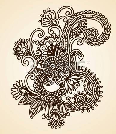 Dibujado a mano Mendie Resumen Flores Henna Doodle Ilustración Vectorial Diseño de Elementos. Foto de archivo - 11189142