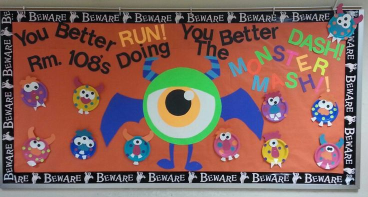My Halloween bulletin board for this year. I made the big monster out of fluorescent poster board and my students made the little monsters out of  paper plates! :)