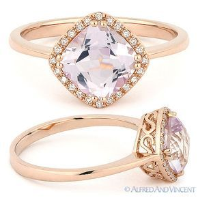 1.52ct Cushion Cut Pink Amethyst & Diamond Halo Engagement Ring in 14k Rose Gold #AlfredAndVincent #SolitairewithAccents