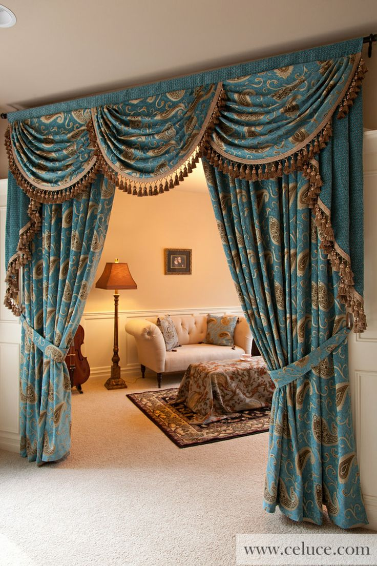 Medici Sapphire Full Set 100W Window Treatments Swag Valance Curtain Collection By Celuce