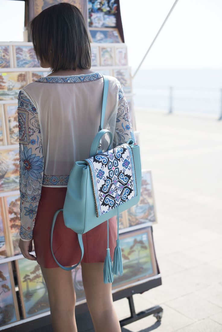 Blended Hmong materials and leather. Muse backpack