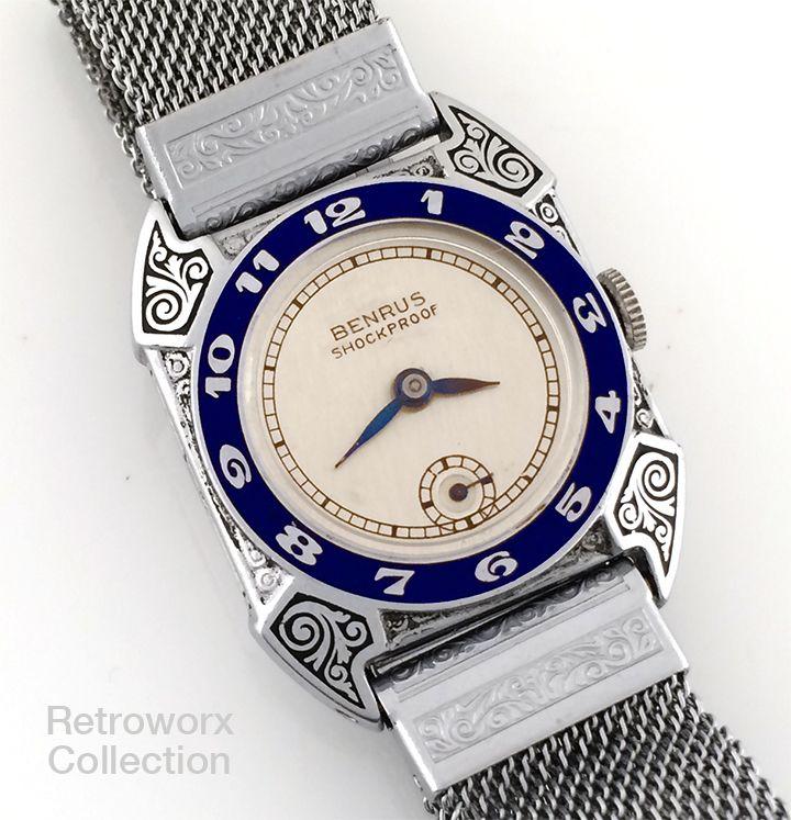 "Deco Engraved Benrus ""Airman"" Vintage Watch, Original Matching Engraved Bracelet, 1930s (Retroworx Collection)"