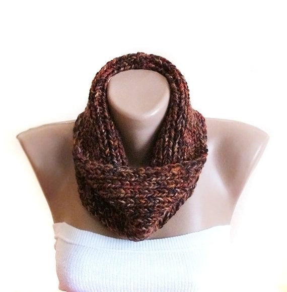 Chunky knitted scarf brown winter fashion by selenayselenay, $35.00