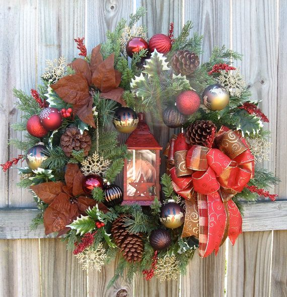Country Cabin in the Woods Christmas Lantern Wreath