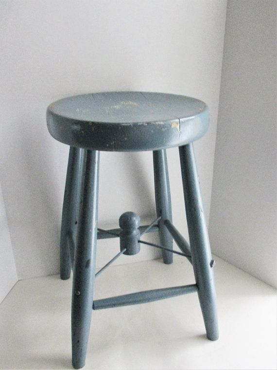 Vintage Wooden Stool Milking Stool Blue Chippy Paint Decorative Detail Step  Stool Foot Stool