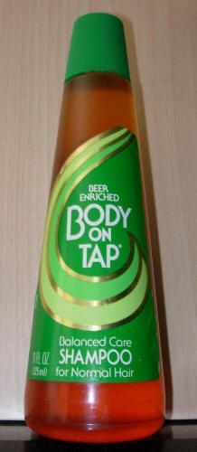 Body on Tap ~ Shampoo with Beer.  Oh man, the memories! Wish this were still available!  Smelled so good!