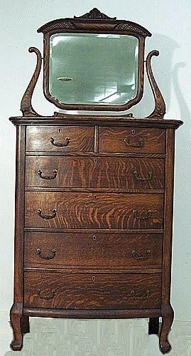 Oak Bow Front Chest Of Drawers With Mirror Antique