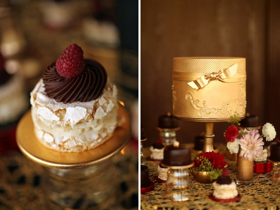 Alternative to the traditional wedding cake...a small ornate gold wedding cake to act as the centerpiece to the dessert table...petite black cakes to add a bit of dramatic contrast to the dessert table.  What could be more stunning than black ganache cakes with edible gold glitter!
