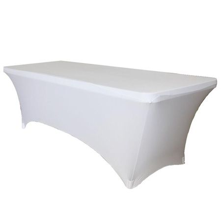 6' White Stretch Fitted Tablecloth by smartyhadaparty.com!