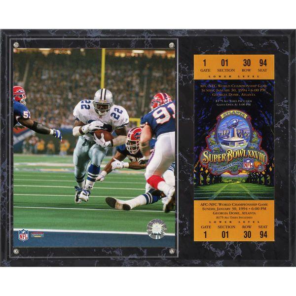 "Emmitt Smith Dallas Cowboys Fanatics Authentic 12"" x 15"" Super Bowl XXVIII Sublimated Plaque with Replica Ticket - $39.99"