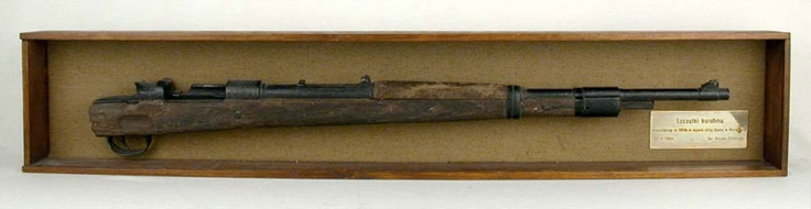 A Mausser rifle found after the war amongst the ruins of a building on Gęsia Street, within the area of the Warsaw Ghetto Uprising  Yad Vashem Artifacts Collection.Donated by Muzeum Wojska Polskiego, Warsaw, Poland