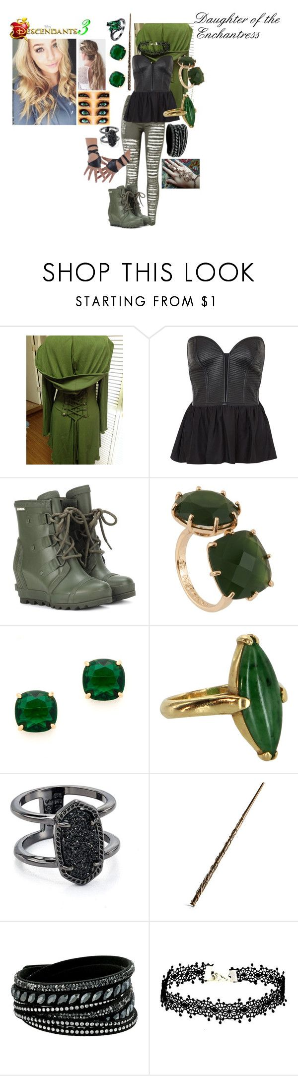 """""""Ember Chanted, daughter of the Enchantress"""" by frootloop16 ❤ liked on Polyvore featuring Parker, SOREL, Les Néréides, Kate Spade, Vintage, Kendra Scott and Swarovski"""