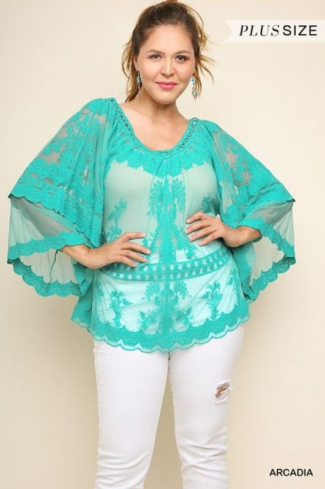 ddfd7cb80e9 Umgee Arcadia Sheer Embroidered Top with Layered Bell Sleeves and Scalloped  Hem