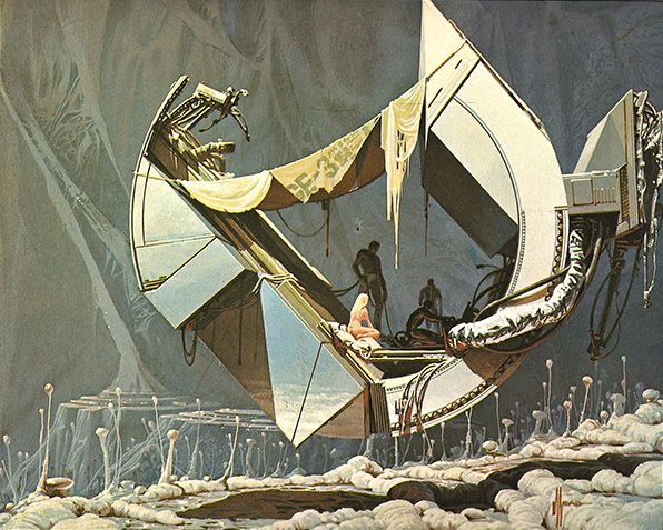"An excellent example of Sci-Fi Concept Design and semi-abstraction from world renowned American visual futurist Syd Mead. Image Taken from the 1978 Paper Tiger Book ""Flight of Icarus""."