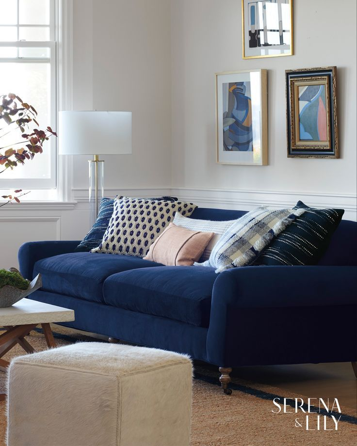 Our Linen Throw Pillow Adds A Pop Of Pink To This Navy Blue Sofa Blue Sofas Living Room Living Room Leather Rugs In Living Room