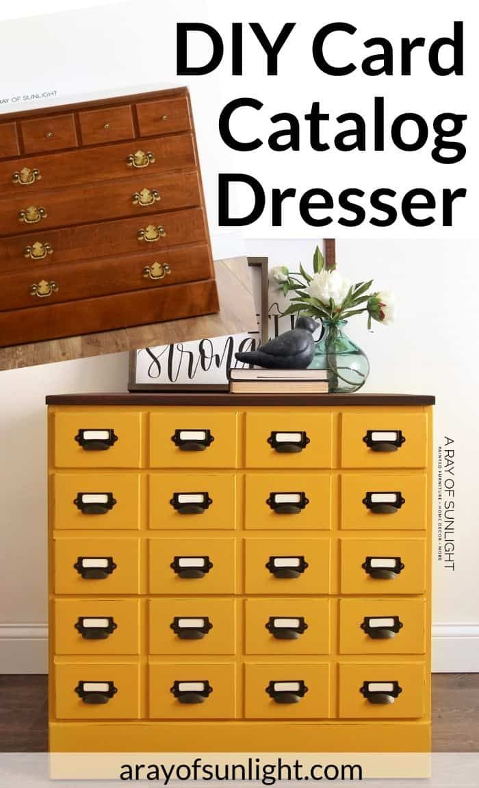 If You Love Farmhouse Style With A Pop Of Color This Diy Mustard Yellow Card Catalog Dresser Is For You Diy Dresser Diy Furniture Dresser Card Catalog Cabinet