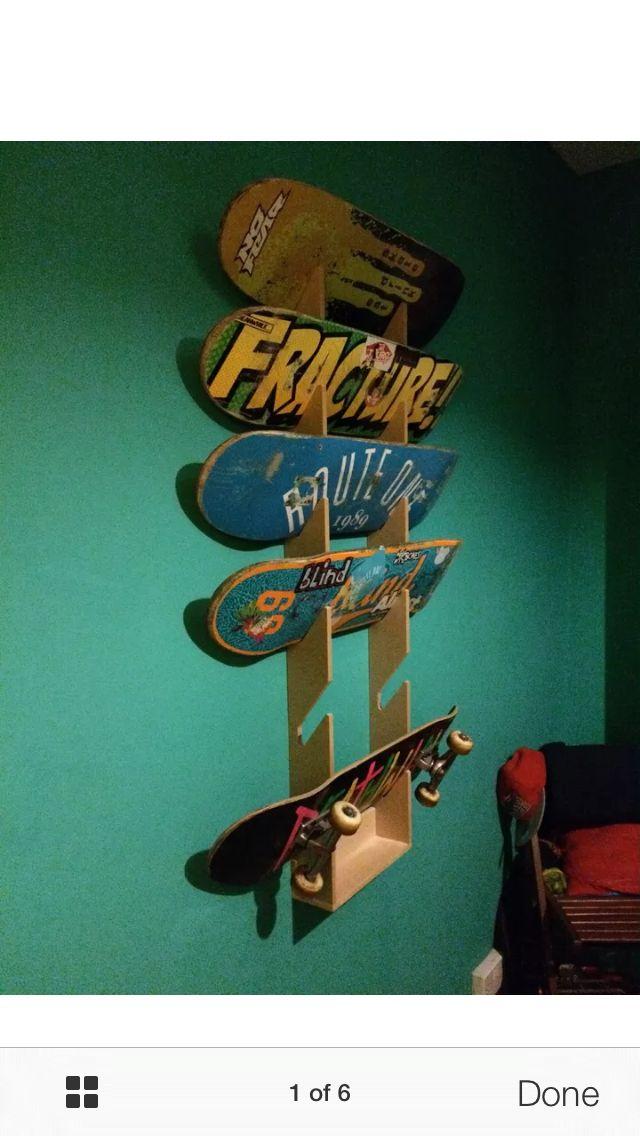 Skateboard storage rack (ebay) for garage