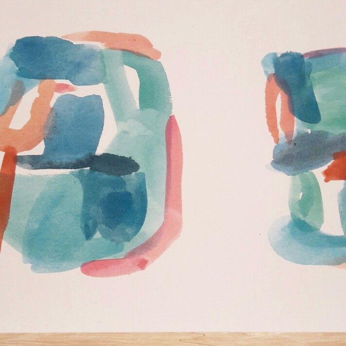 Colourful blue Aqua blush painting